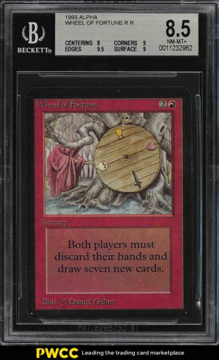 1993 Magic The Gathering Mtg Alpha Wheel Of Fortune R R Bgs 8.  5 Nm - Mt,  (pwcc)