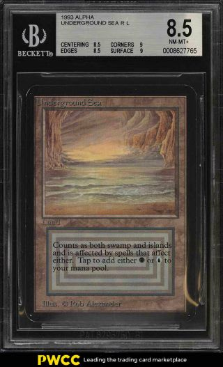 1993 Magic The Gathering Mtg Alpha Dual Land Underground Sea R L Bgs 8.  5 (pwcc)