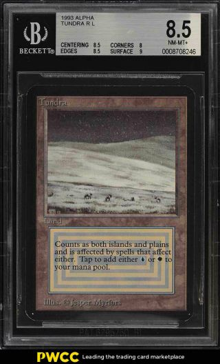 1993 Magic The Gathering Mtg Alpha Dual Land Tundra R L Bgs 8.  5 Nm - Mt,  (pwcc)