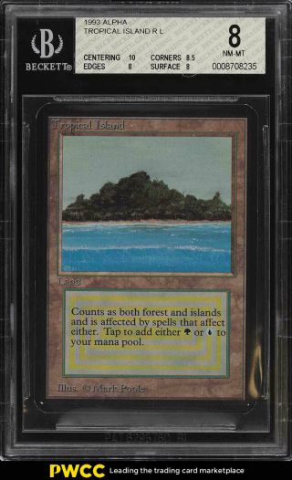 1993 Magic The Gathering Mtg Alpha Dual Land Tropical Island R L Bgs 8 (pwcc)