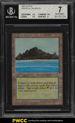 1993 Magic The Gathering Mtg Alpha Dual Land Tropical Island R L Bgs 7 (pwcc)