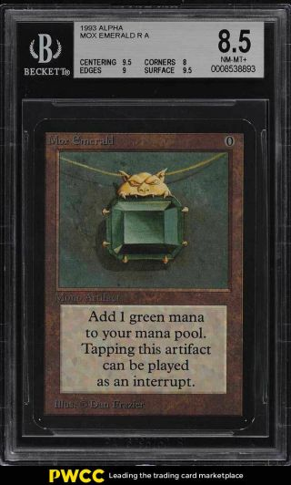 1993 Magic The Gathering Mtg Alpha Mox Emerald R A Bgs 8.  5 Nm - Mt,  (pwcc)