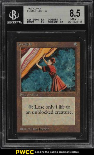 1993 Magic The Gathering Mtg Alpha Forcefield R A Bgs 8.  5 Nm - Mt,  (pwcc)
