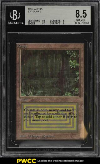 1993 Magic The Gathering Mtg Alpha Dual Land Bayou R L Bgs 8.  5 Nm - Mt,  (pwcc)