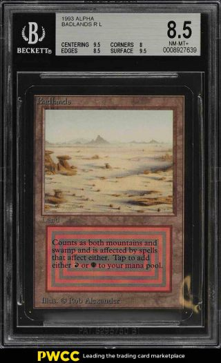 1993 Magic The Gathering Mtg Alpha Dual Land Badlands R L Bgs 8.  5 Nm - Mt,  (pwcc)
