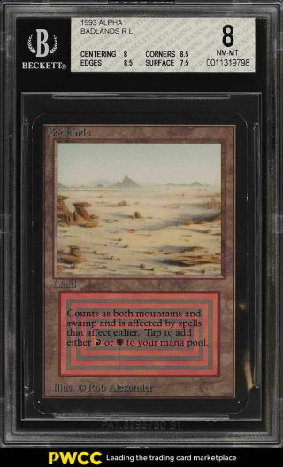1993 Magic The Gathering Mtg Alpha Dual Land Badlands R L Bgs 8 Nm - Mt (pwcc)