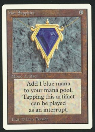 1x Unlimited Mox Sapphire (crease) Mtg Unlimited Power 9 - Kid Icarus -