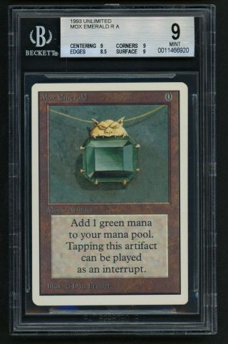 Bgs 9 Unlimited Mox Emerald Mtg Unlimited Power 9 - Kid Icarus -