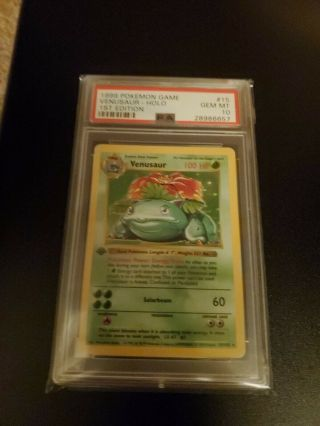 Pokemon 1st Edition Shadowless Base Psa 10 Grade Venusaur.
