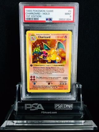 1999 Pokemon Game 1st Edition Holographic Charizard 4/102 Psa 9