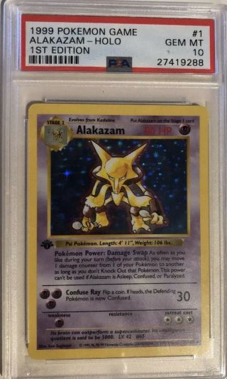 1999 Pokemon Base Psa 10 Gem 1st Edition Alakazam Holo