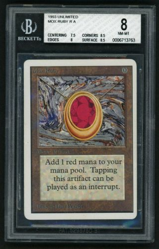 1x Bgs 8 Unlimited Mox Ruby Mtg Unlimited Power 9 - Kid Icarus -