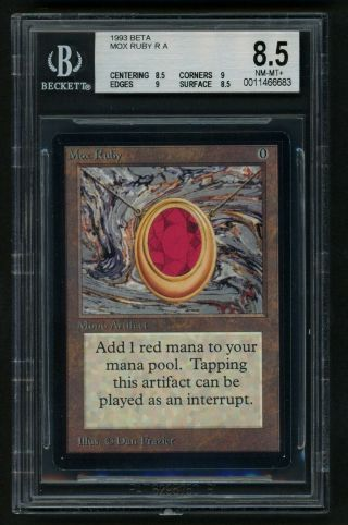 Bgs 8.  5 Beta Mox Ruby (quad, ) Mtg Beta Power 9 - Kid Icarus -