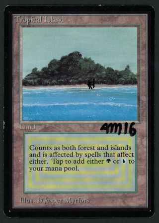1x Beta Tropical Island (signed) Mtg Beta Altered - Kid Icarus -