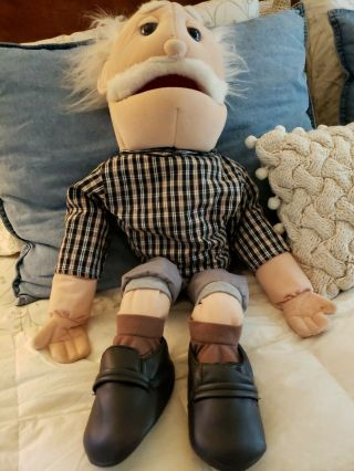 """Large 30 """" Old Man People Hand Puppet Unmarked"""