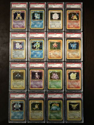 Pokemon Cards - Complete Psa 9 Unlimited Base Holo Set 1 - 16 Includes Charizard