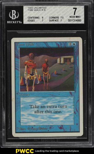 1993 Magic The Gathering Mtg Unlimited Time Walk R B Bgs 7 Nrmt (pwcc)