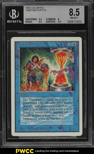 1993 Magic The Gathering Mtg Unlimited Timetwister R B Bgs 8.  5 Nm - Mt,  (pwcc)