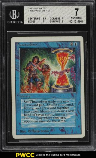 1993 Magic The Gathering Mtg Unlimited Timetwister R B Bgs 7 Nrmt (pwcc)