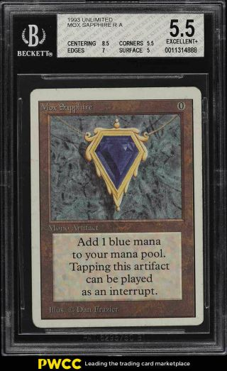 1993 Magic The Gathering Mtg Unlimited Mox Sapphire R A Bgs 5.  5 Ex,  (pwcc)