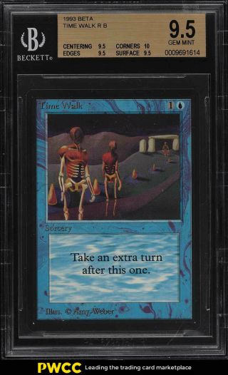 1993 Magic The Gathering Mtg Beta Time Walk R B Bgs 9.  5 Gem (pwcc)