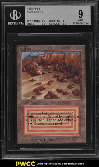 1993 Magic The Gathering Mtg Beta Dual Land Plateau R L Bgs 9 (pwcc)