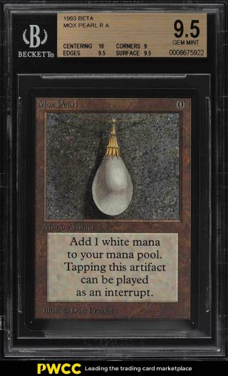 1993 Magic The Gathering Mtg Beta Mox Pearl R A Bgs 9.  5 Gem (pwcc)