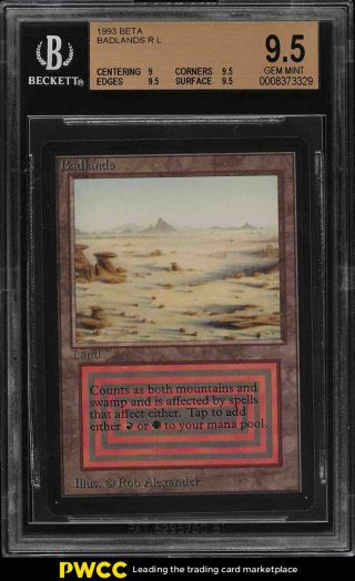 1993 Magic The Gathering Mtg Beta Dual Land Badlands R L Bgs 9.  5 Gem (pwcc)