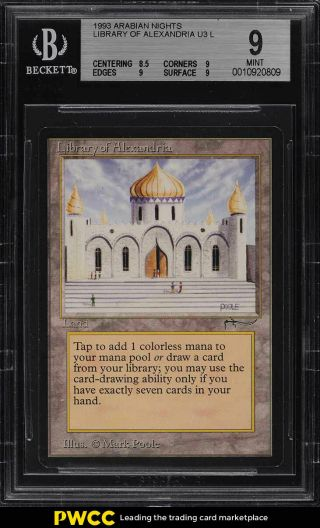 1993 Magic The Gathering Arabian Nights Library Of Alexandria U3 L Bgs 9 (pwcc)