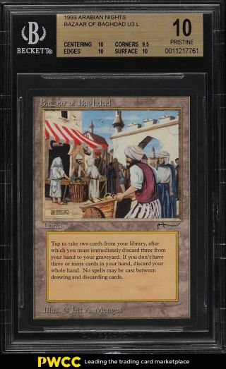 1993 Magic The Gathering Mtg Arabian Nights Bazaar Of Baghdad U3 L Bgs 10 (pwcc)