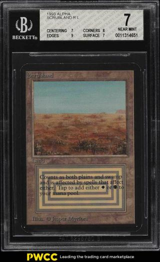 1993 Magic The Gathering Mtg Alpha Dual Land Scrubland R L Bgs 7 Nrmt (pwcc)