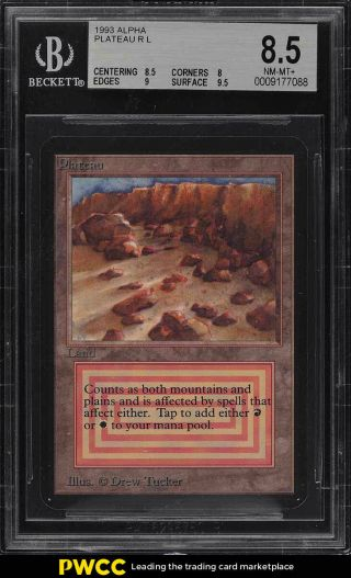 1993 Magic The Gathering Mtg Alpha Dual Land Plateau R L Bgs 8.  5 Nm - Mt,  (pwcc)