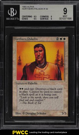 1993 Magic The Gathering Mtg Alpha Northern Paladin R W Bgs 9 (pwcc)