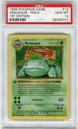 1999 Pokemon Game 1st Edition Holo Venusaur 15 Psa 10 Gem