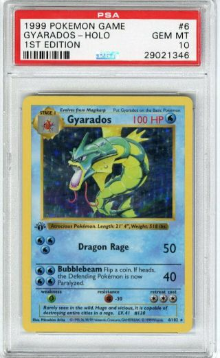 1999 Pokemon Game 1st Edition Holo Gyarados 6 Psa 10 Gem