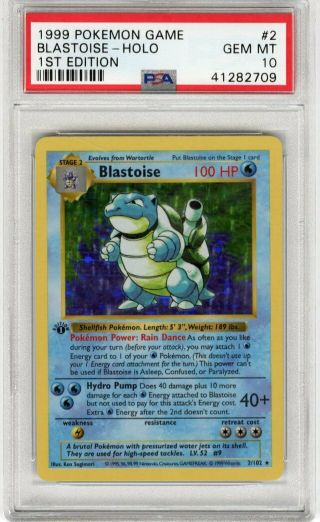 1999 Pokemon Game 1st Edition Holo Blastoise 2 Psa 10 Gem