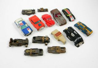 8 Vintage Slot Car Body Shells,  Assorted Parts,  Chassis,  Tires,  Nr