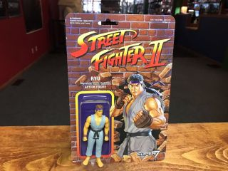 "2017 Super7 Reaction Street Fighter Champion Gray Ryu 4 "" Action Figure Moc"