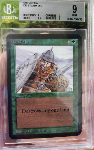 Vintage Magic | Bgs 9 Mtg Alpha Ice Storm,  Quad,  9.  5,