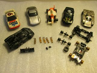 (6) Aurora Tomy Cars With Extra Chassis & Parts,