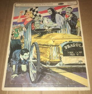 1965 Whitman The Munsters Frame Tray Puzzle - Complete Drag - U - La Car Art