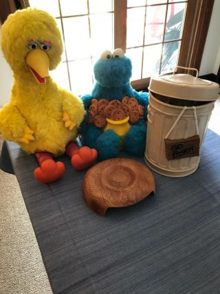 Vintage 1980s Ideal Talking Big Bird W Nest,  Cookie Monster And Oscar The Grouch