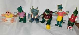 """Complete Set Of 6 Dinosaurs Tv Show Action Figures Disney Sinclair Family 1990 """" S"""