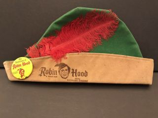 1950s Robin Hood Hat W/ Feather And Pin By Official Films With Robin Green