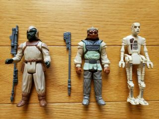 Vintage Star Wars Jabba The Hutt Dungeon Gray Klaatu Nikto 8d8 Figures Complete
