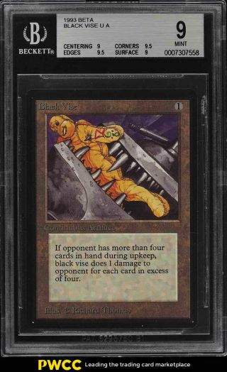 1993 Magic The Gathering Mtg Beta Black Vise U A Bgs 9 (pwcc)
