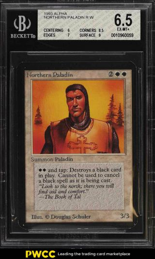 1993 Magic The Gathering Mtg Alpha Northern Paladin R W Bgs 6.  5 Exmt,  (pwcc)