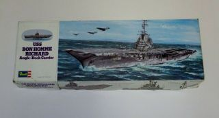 Collectible Revell Model Kit Uss Bon Homme Richard,  Angle Deck Carrier Made 1974