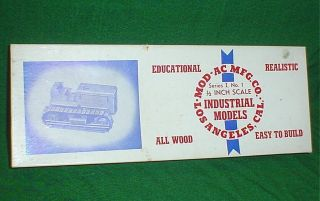 Mod - Ac Mfg Co Trac - Tractor,  Series I,  No 1,  Industrial Models,  ½ Inch Scale