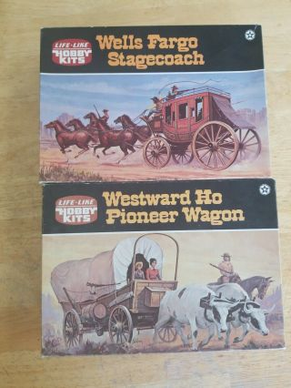 Life - Like Hobby Model Kits (2) Westward Ho Pioneer Wagon,  Wells Fargo Stagecoach